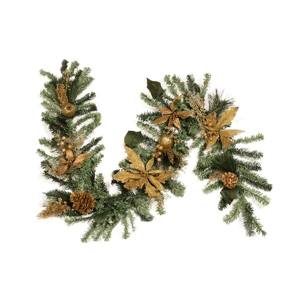 Pre Decorated Pine Poinsettia Berry and Pine Cone Artificial Christmas Garland by Northlight Seasonal