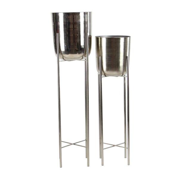 Egbert Contemporary 2-Piece Metal Pot Planter Set by Orren Ellis