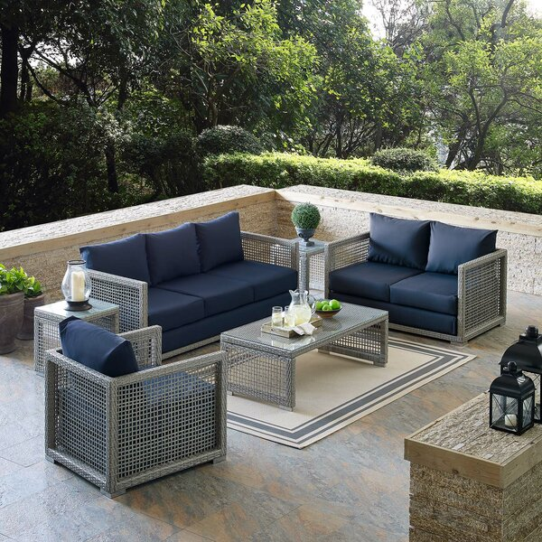 Cassiopeia Outdoor Patio 6 Piece Sofa Seating Group with Cushions by Highland Dunes