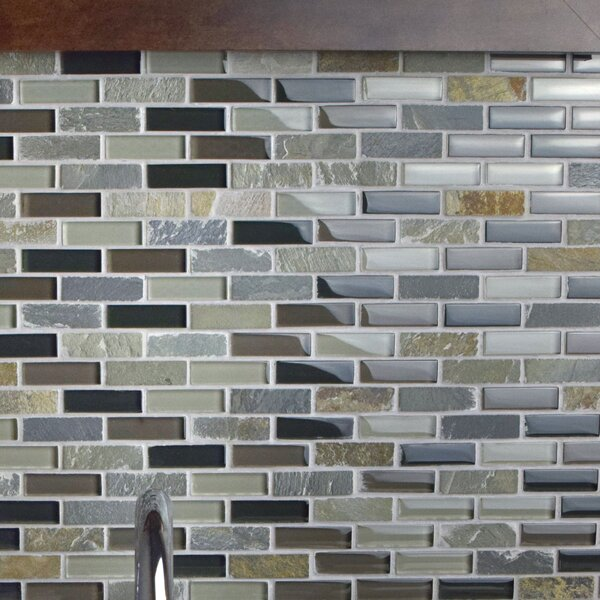 Sierra 0.58 x 1.88 Mixed Mosaic Tile in Black/Gray by EliteTile