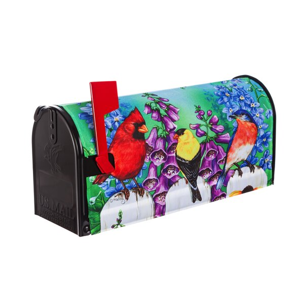 Birds on Fence Mailbox Cover by Evergreen Flag & G