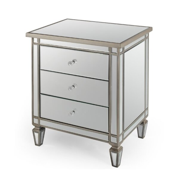Hoff Mirrored 3 Drawer Nightstand by Rosdorf Park