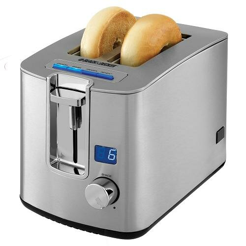 2 Slice Retractable Cord LED Display Toaster by Black + Decker