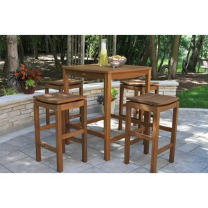 Willene Square Bar Height Ecualyptus Table by Beachcrest Home