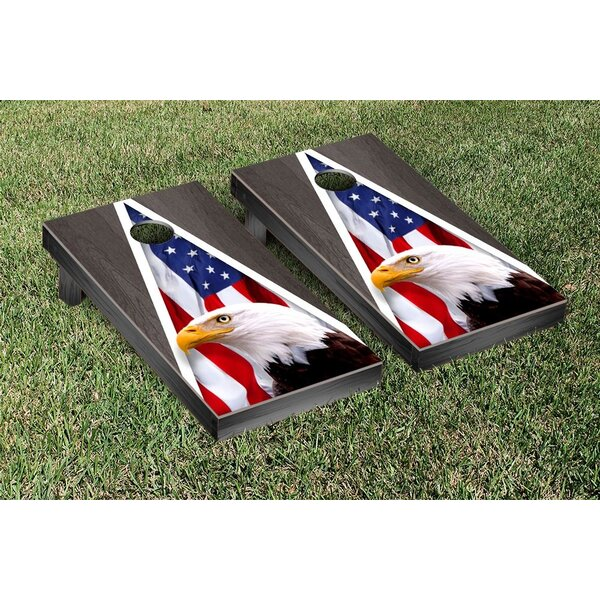 American Eagle USA Onyx Stained Triangle No Mountain Version Cornhole Game Set by Victory Tailgate