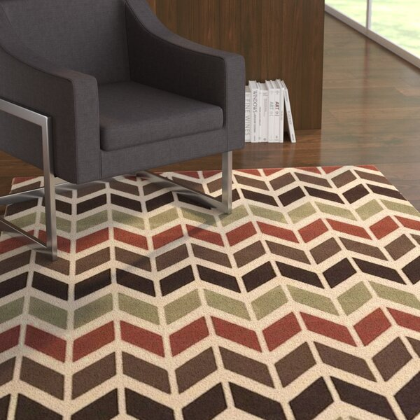 Schiess Brown/Red Area Rug by Ebern Designs