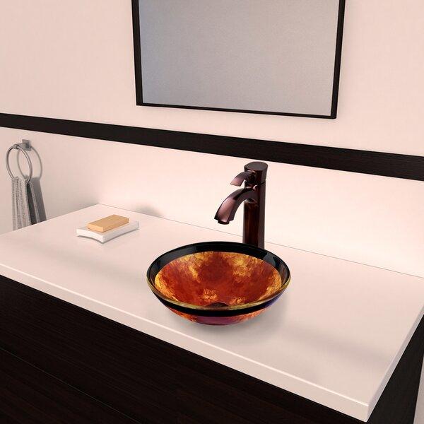Fusion Glass Circular Vessel Bathroom Sink with Faucet by VIGO