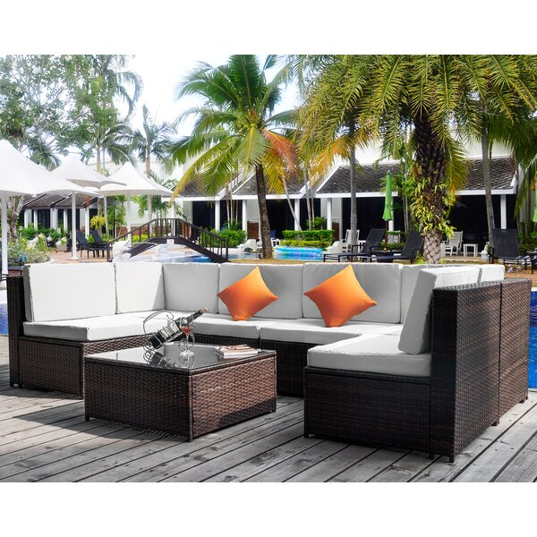 7 Piece Rattan Sectional Seating Group with Cushions by Latitude Run