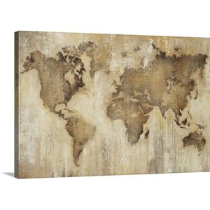'Map of the World' by Liz Jardine Painting Print on Wrapped Canvas by Great Big Canvas