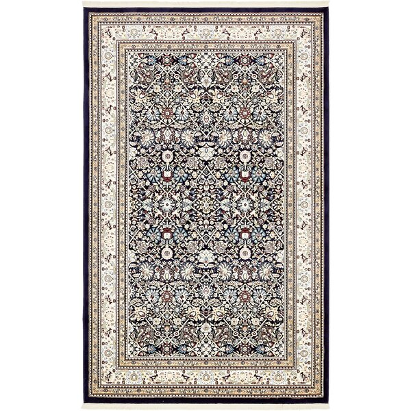 Quince Navy Blue/Tan Area Rug by Astoria Grand