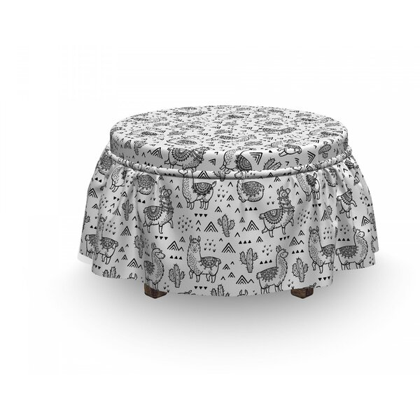Llama Doodle Alpaca Design 2 Piece Box Cushion Ottoman Slipcover Set By East Urban Home