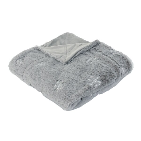 Dewitt Sequin Snowflake Embroidered Faux Fur Throw by The Holiday Aisle