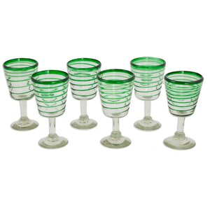 Green Spiral 9 oz. Goblet (Set of 6)