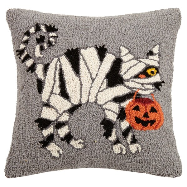 Mcgriff Cat Mummy Hook Wool Throw Pillow by The Holiday Aisle