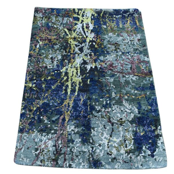One-of-a-Kind Hi and Lo Abstract Hand-Knotted Dark Blue Area Rug by Williston Forge