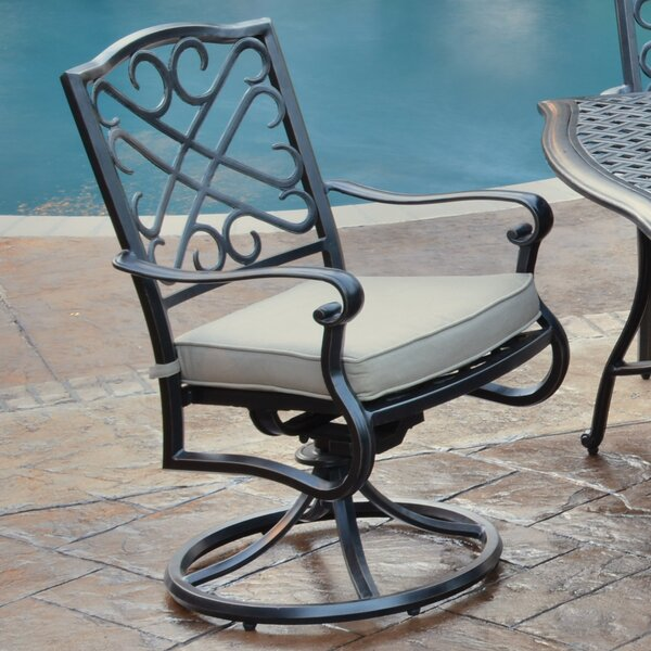 Jeremiah Swivel Patio Dining Chair with Cushion (Set of 2) by Hazelwood Home