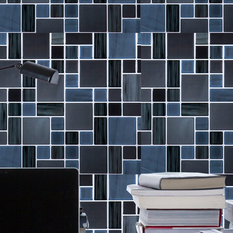 Ctgbrands 10 X 10 Pvc Peel Stick Mosaic Tile In Blue Gray Reviews Wayfair
