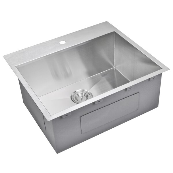 25 L x 22 W Drop-In Kitchen Sink with Basket Strainer by dCOR design