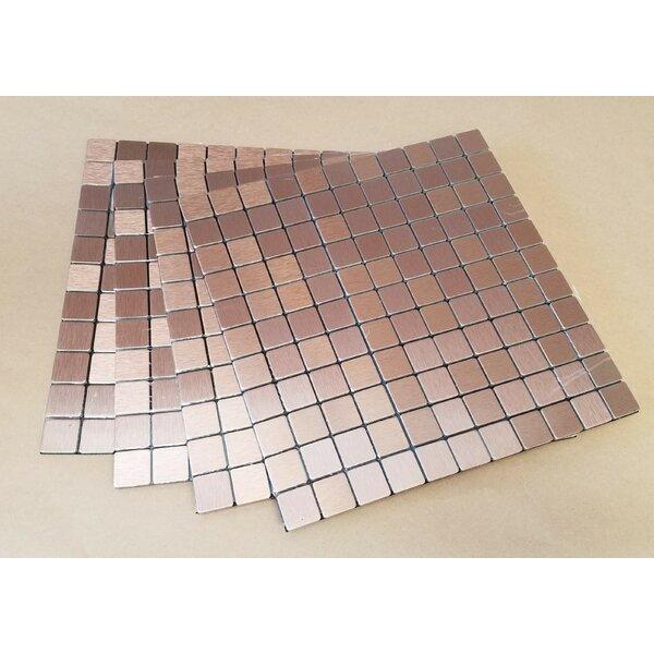 11.38 x 11.38 Metal Peel & Stick Mosaic Tile in Agate by FLEXIPIXTILE