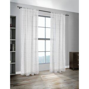 Nicolette Striped Sheer Rod Pocket Curtain Panels (Set of 2)