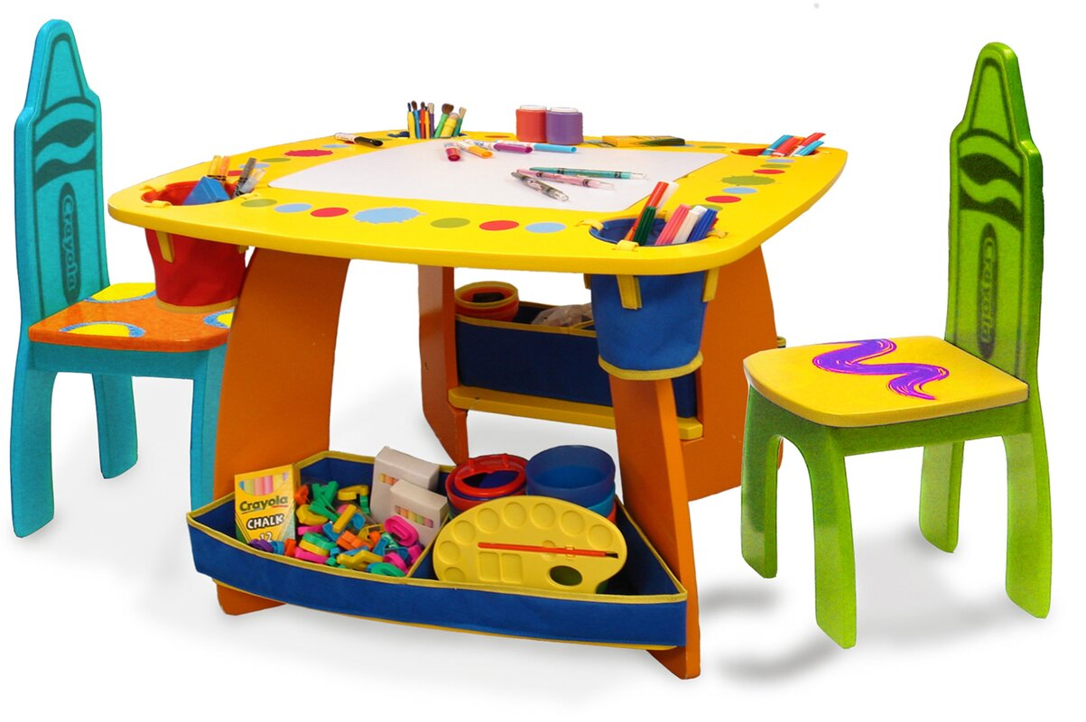 Toddler Table And Chair - Crayola wooden kids 3 piece table and chair set