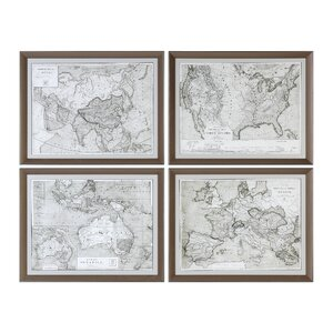 World Maps 4 Piece Framed Graphic Art Set by Darby Home Co