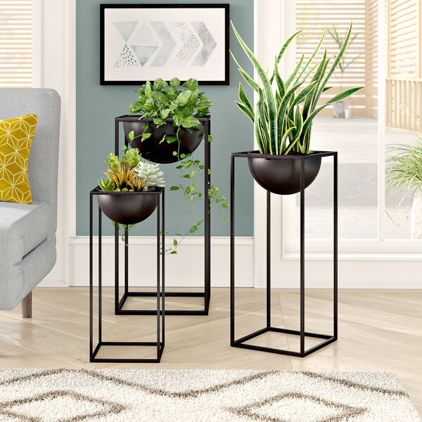 Cameley 3 Piece Modern Rectangular-Framed Plant Stand Set by Ivy Bronx