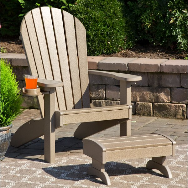 Deniela Polywood Adirondack Chair with Ottoman by Bayou Breeze