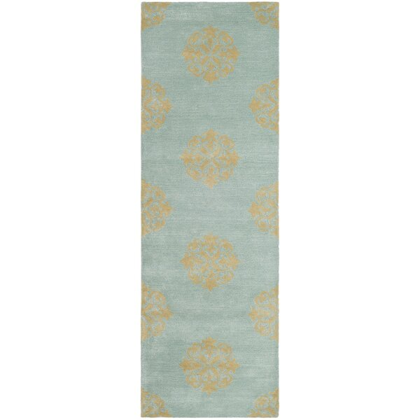 Backstrom Floral Handmade Hand-Tufted Wool Turquoise Area Rug
