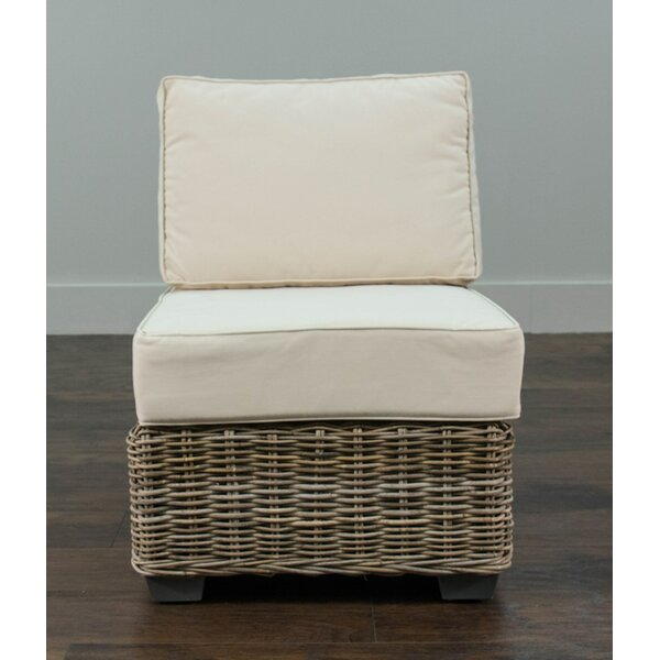 North Bay Driftwood Rattan Center Chair with Cushion by Rosecliff Heights