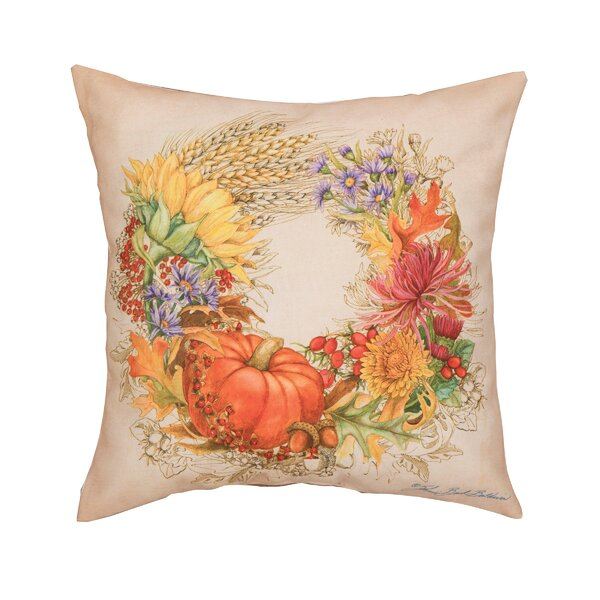 Fergerson Autum Wreath Indoor/Outdoor Throw Pillow by The Holiday Aisle