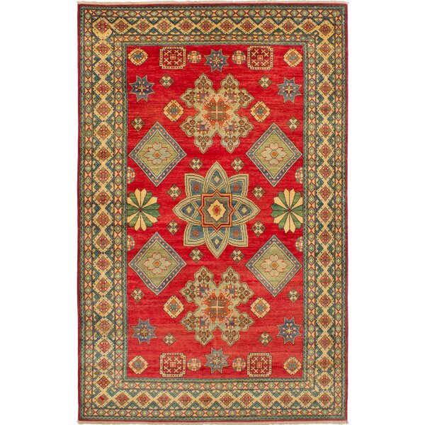 One-of-a-Kind Bernard Hand-Knotted Wool Red/Cream Area Rug by Bloomsbury Market