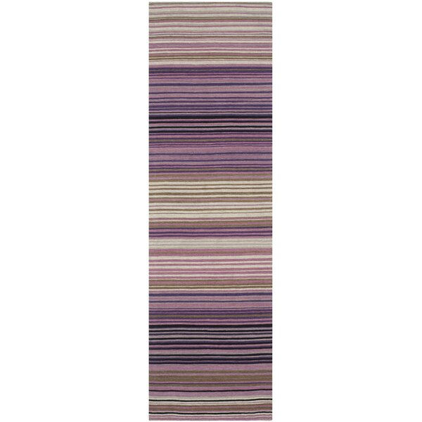 Jefferson Striped Contemporary White/Lilac Area Rug by Wrought Studio