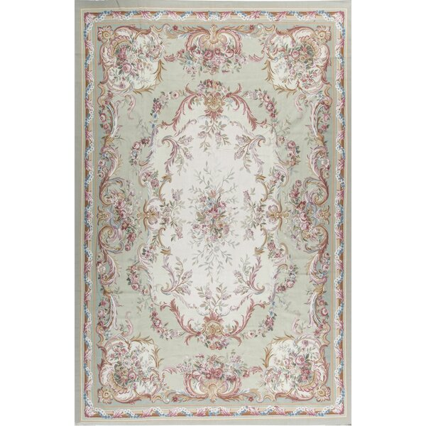Aubusson Hand Knotted Wool Green/Beige Rug