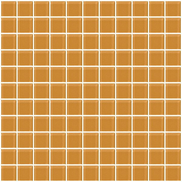 1 x 1 Glass Mosaic Tile in Glossy Caramel brown by Susan Jablon