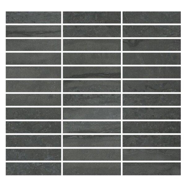 Nova 1 x 4 Porcelain Mosaic Tile in Dark Gray by Madrid Ceramics