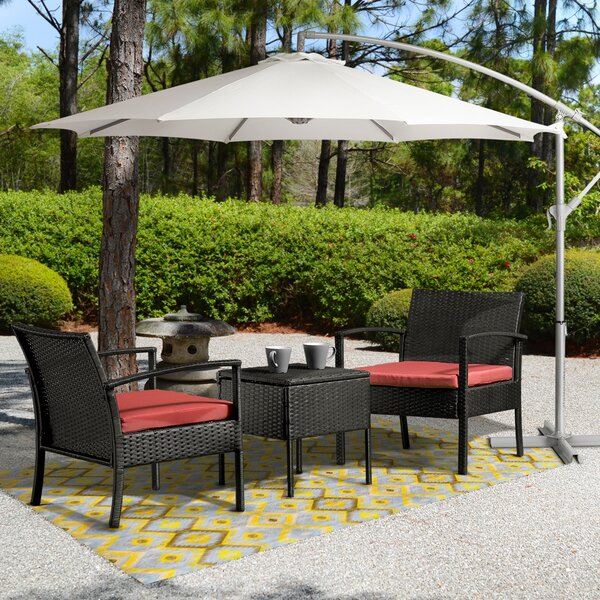 Patrice 3 Piece Rattan Conversation Set with Cushions by Wrought Studio