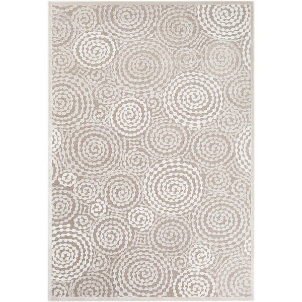Reva Transitional Swirl Taupe Area Rug by Highland Dunes