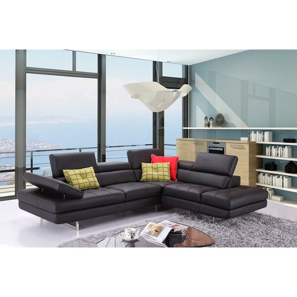 Lucchesi Leather Sectional By Orren Ellis