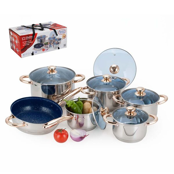 12 Piece Jumbo 7 Layer Stainless Steel Cookware Set by Alpine Cuisine