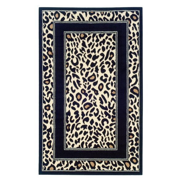 Allicia Black/Ivory Animal Print Area Rug by Bloomsbury Market