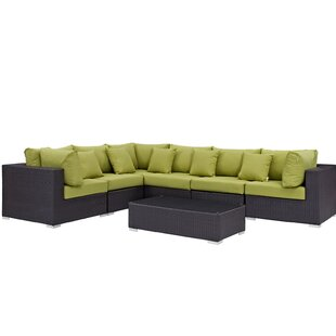 Ryele 7 Piece Rattan Sectional Set with Cushions By Latitude Run
