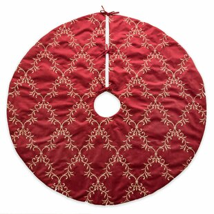 e84edaefd4f27 Christmas Floral Vine Luxury Embroidered Velvet Tree Skirt