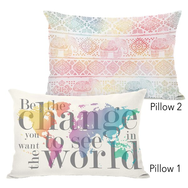 Jimena Be the Change and Boho Ele 2 Piece Lumbar Pillow Set by Ebern Designs