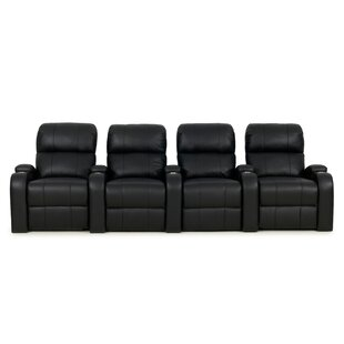 Leather Home Theater Row Seating Row of 4  by Red Barrel Studio