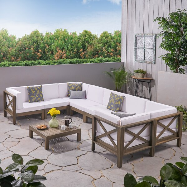Ellison 9 Piece Sectional Seating Group with Cushions by Highland Dunes