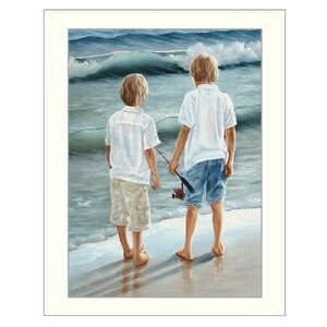 'Going Fishing' Framed Painting Print by Trendy Decor 4U