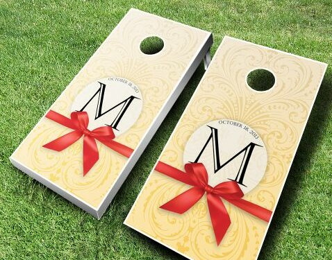 Wedding Bow Cornhole Set by AJJ Cornhole
