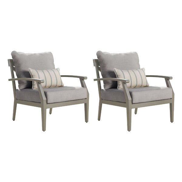 Aizayah Patio Dining Chair with Cushion (Set of 2) by Latitude Run