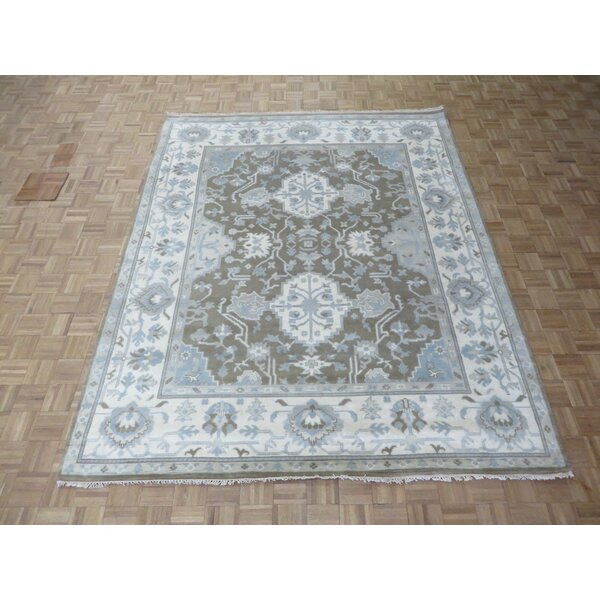 One-of-a-Kind Eladia Oushak Hand-Knotted Wool Brown Area Rug by World Menagerie